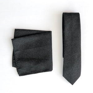 Dibi Black Textured Tie & Pocket Square Set