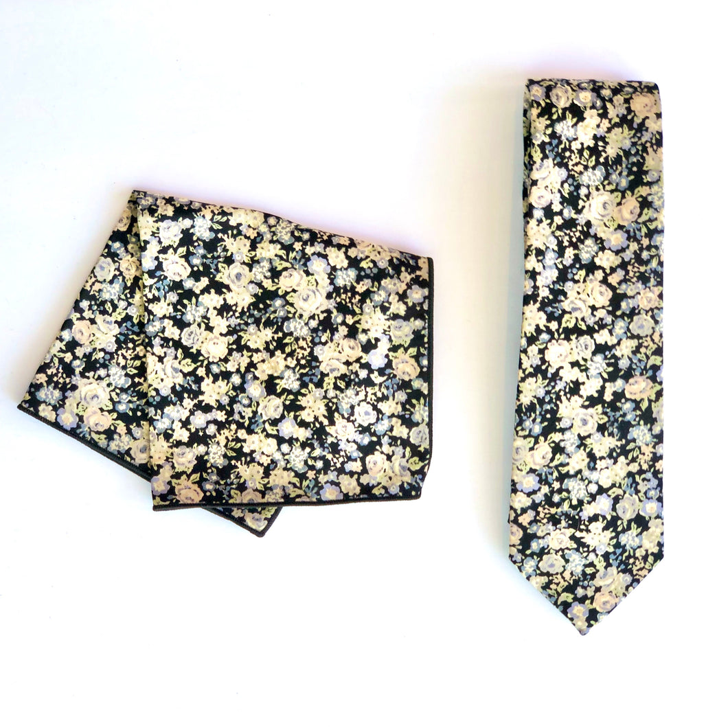 Dibi Denim Ditsy Floral Tie & Pocket Square Set