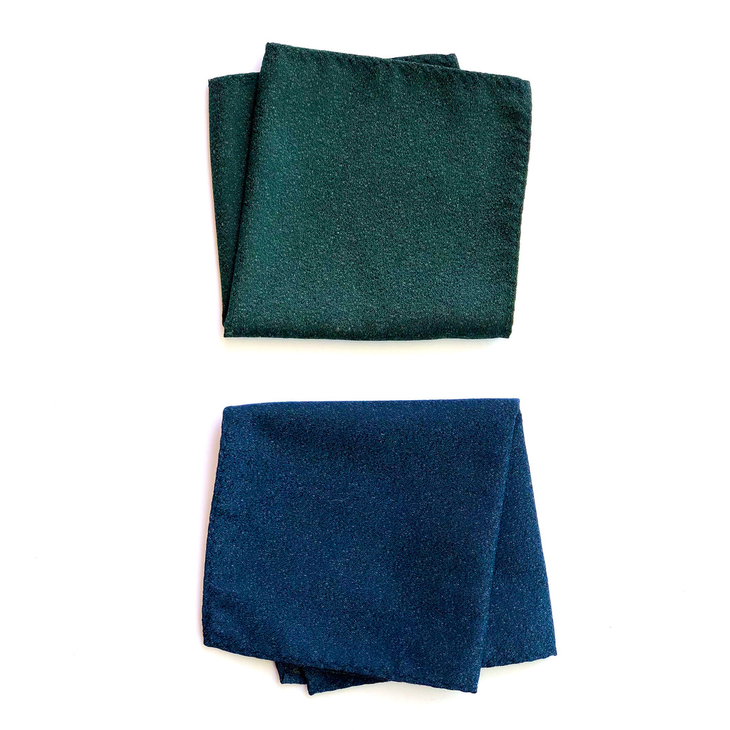 Dibi Navy & Green Textured Pocket Square Set