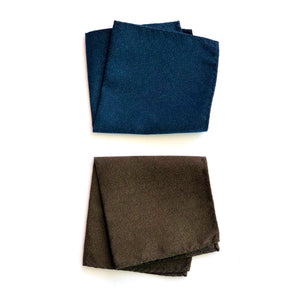 Dibi Navy & Brown Textured Pocket Square Set