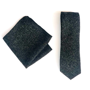 Dibi Black Textured Hatch Tie & Pocket Square Set
