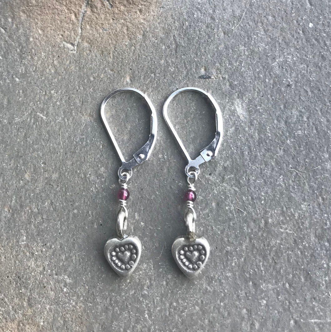 Deana Rose Stamped Heart with Garnet Accent Earrings