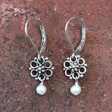 Load image into Gallery viewer, Deana Rose Flower and Pearl Drop Earrings