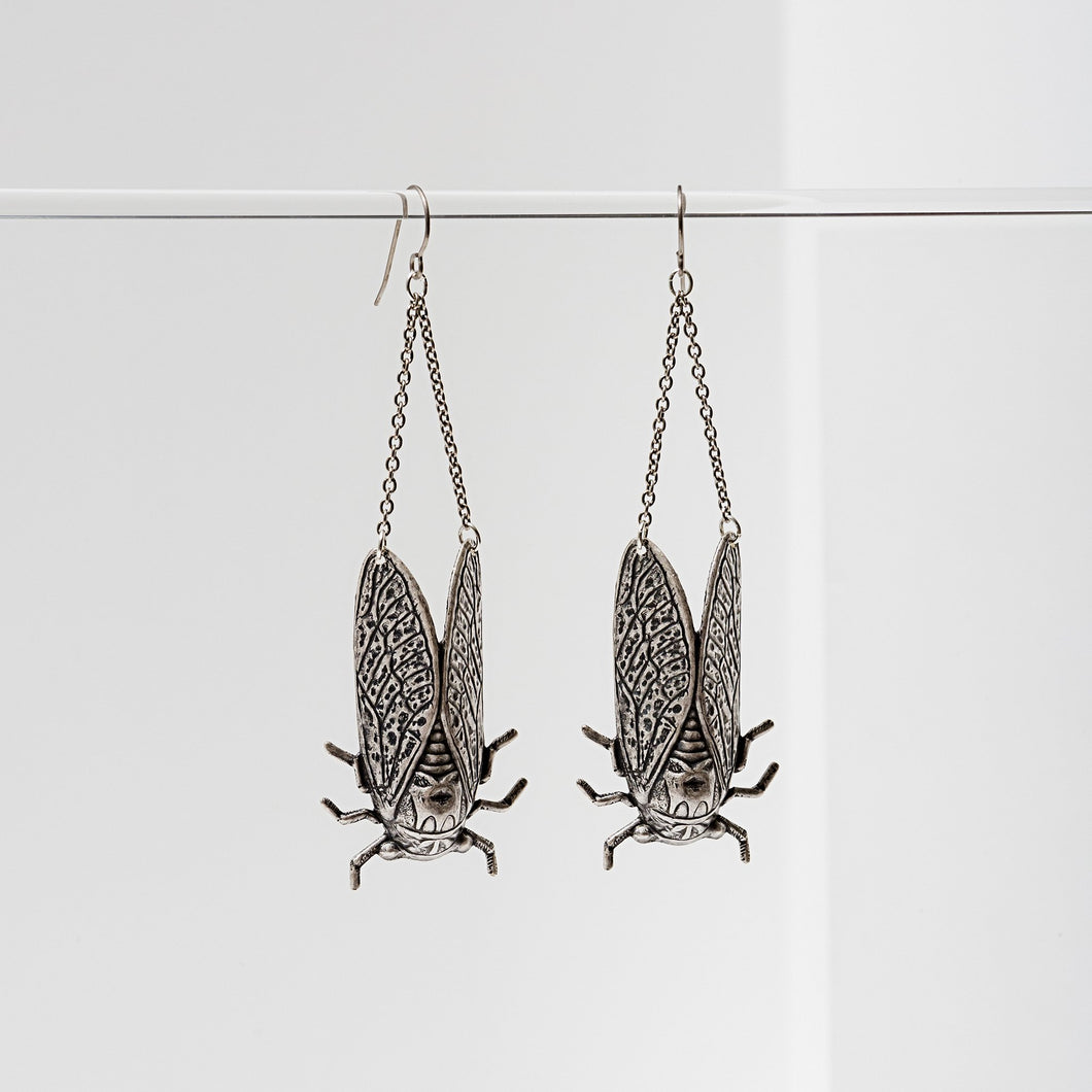 Larissa Loden Silver Cicada Earrings