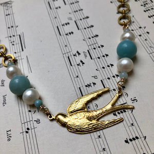 Madame Annie Bird & Amazonite Necklace