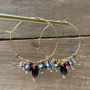 Madame Annie Cluster Hoop Earrings