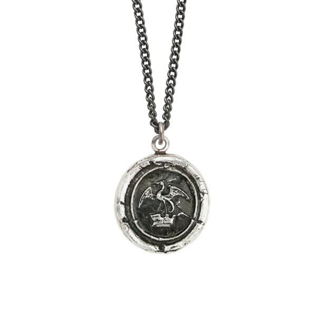 Pyrrha Dragon In Crown Necklace