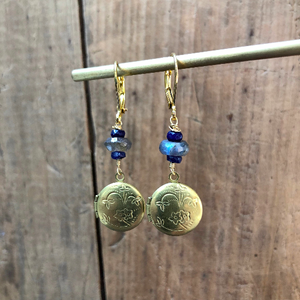 Madame Annie Locket, Labradorite, & Sapphire Earrings