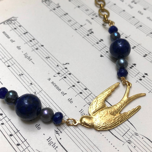 Madame Annie Lapis & Pearl Bird Necklace