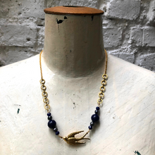 Load image into Gallery viewer, Madame Annie Lapis & Pearl Bird Necklace
