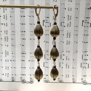 Madame Annie Vintage Long Teardrop Bead Earrings