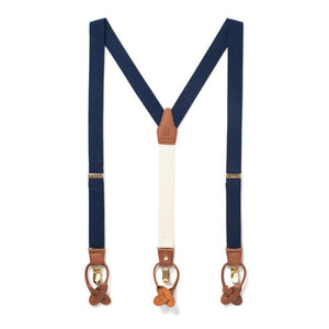 Classic Fabric Suspenders in Navy Tides