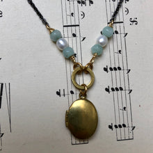 Load image into Gallery viewer, Madame Annie Oval Locket With Amazonite Necklace
