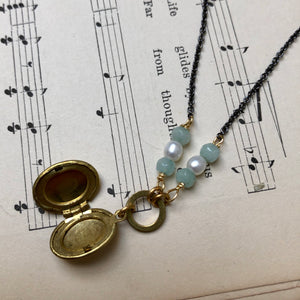 Madame Annie Oval Locket With Amazonite Necklace