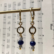 Load image into Gallery viewer, Madame Annie Petitie Lapis & Labradorite Circle Earrings