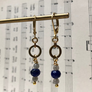 Madame Annie Petitie Lapis & Labradorite Circle Earrings