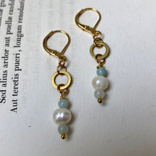 Load image into Gallery viewer, Madame Annie Petite Pearl & Amazonite Circle Earrings