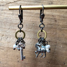 Load image into Gallery viewer, Madame Annie Unicorn & Key Charm Earrings