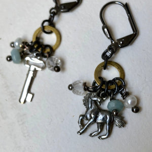 Madame Annie Unicorn & Key Charm Earrings