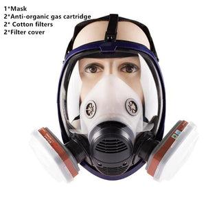 7 in 1 Full Face Gas Mask Filter - Dust, Acid, Toxic Air, Chemicals - Survivalways