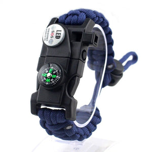 Military Survival Bracelet - SOS LED, Paracord, Compass, Whistle, Knife - Survivalways