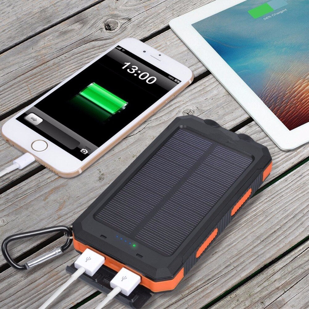 Waterproof Solar Power Bank - 20000 mAh, Dual USB, Battery Charger - Survivalways