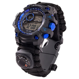 Survival Watch - Night Vision, 50M Waterproof, Paracord, Knife, Compass, Thermometer, Whistles - Survivalways