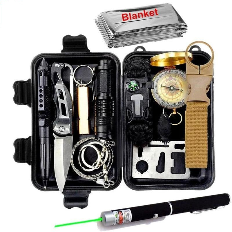 13 in 1 Survival kit - Wristband, Whistle, Blanket, Knife, Saw, Laser, Flashlight... - Survivalways