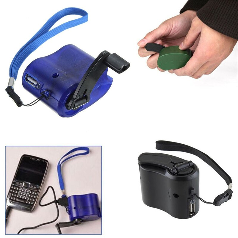 USB Hand Crank Manual Dynamo Mobile Phone Charger - DC 6V 300mA - Survivalways