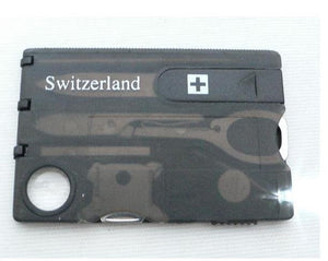 Swiss Card 12 in 1 with Knife and Light - Survivalways