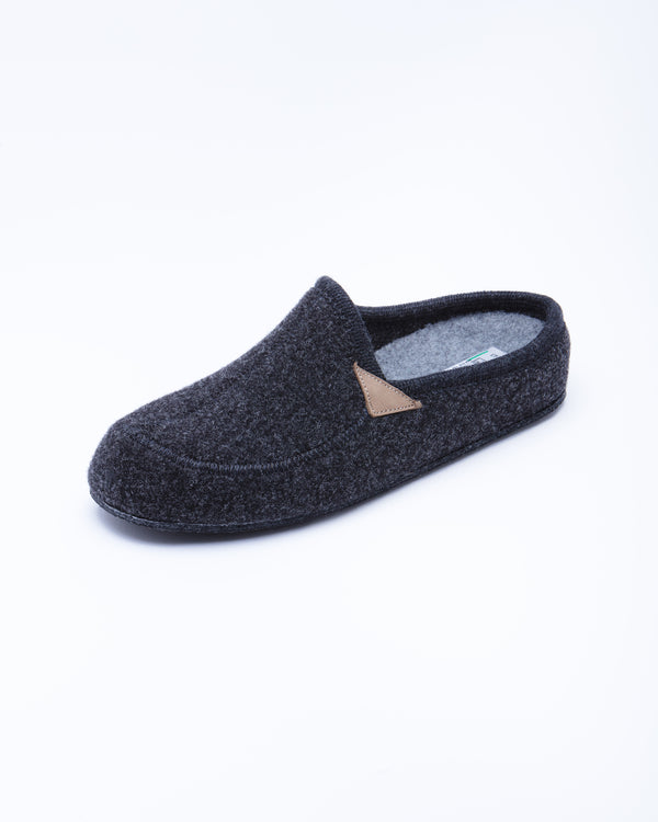 Le Clare Casies Men's Wool Felt Charcoal Grey House Slippers