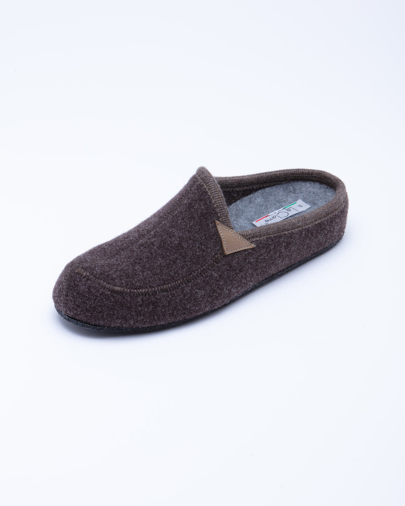 Le Clare Casies Men's Wool Felt Brown House Slippers