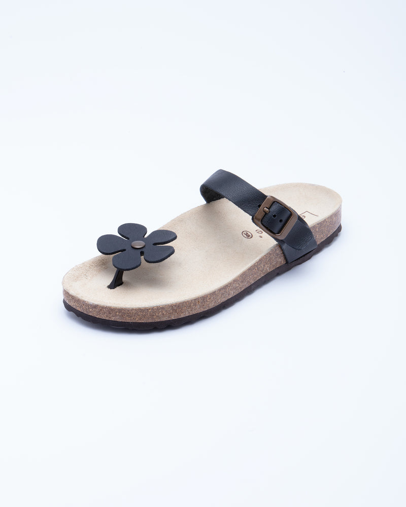 Women's Manu Flower Sandal Black Leather