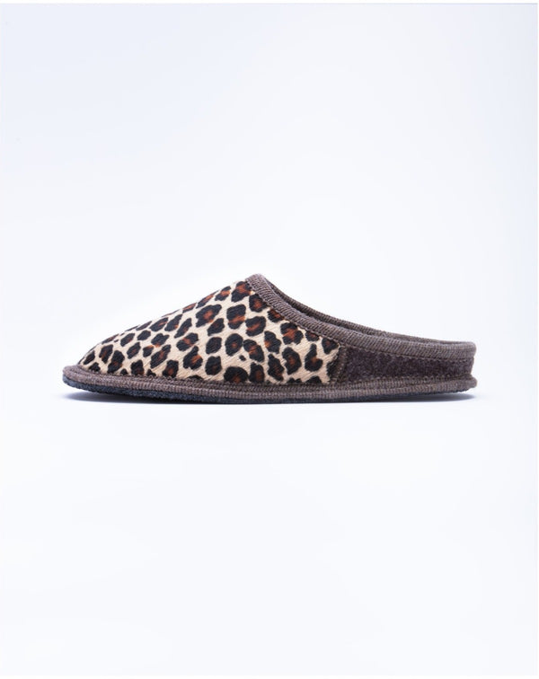 Le Clare Leopard Calf Hair Mule slipper made in Italy