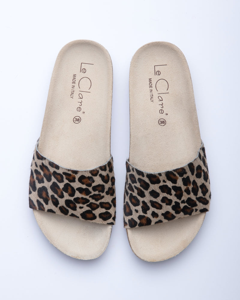 Women's Iris Slide Sandal Leopard Pony Hair