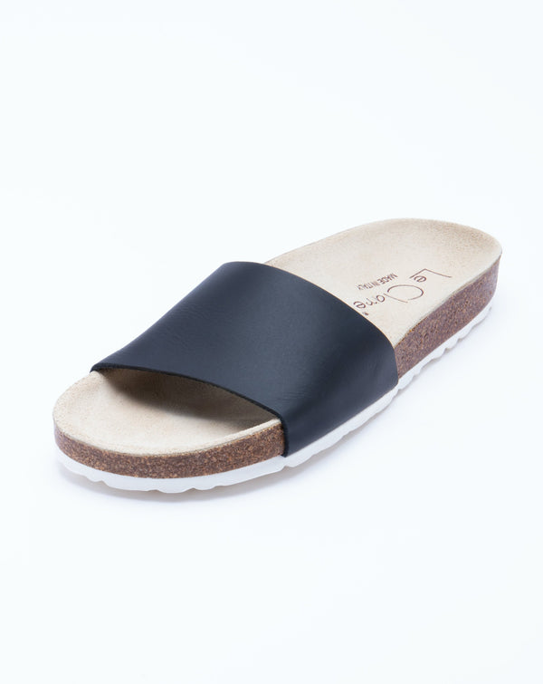 Women's Iris Slide Sandal Black Leather