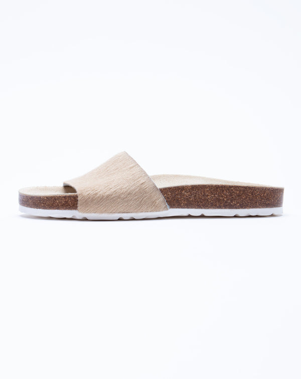 Women's Iris Slide Sandal Beige Pony Hair