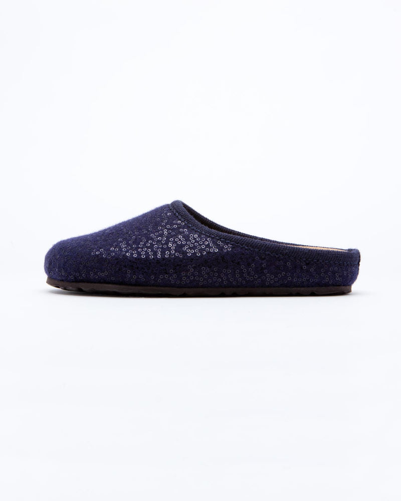women's navy le clare nebraska Shine sequined wool felt clog shoe