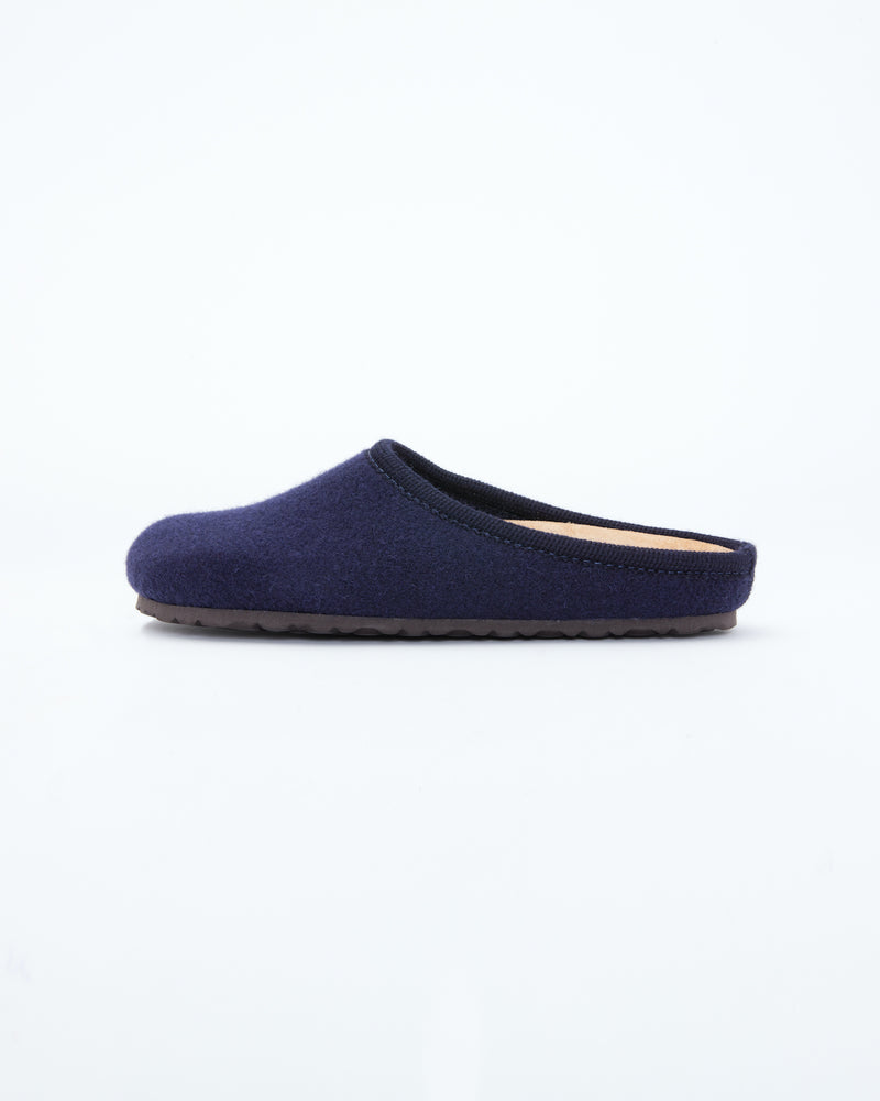 Men's navy  le clare nebraska wool felt clog shoe