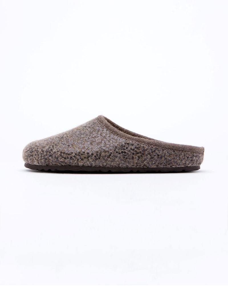 women's hazelnut  le clare nebraska Shine sequined wool felt clog shoe