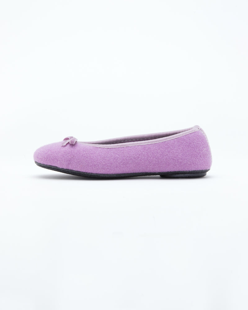 lilac le clare wool ballet flat house slipper