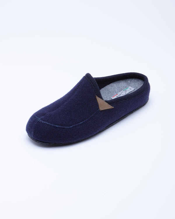 Le Clare Casies Men's Wool Felt Navy Blue House Slippers