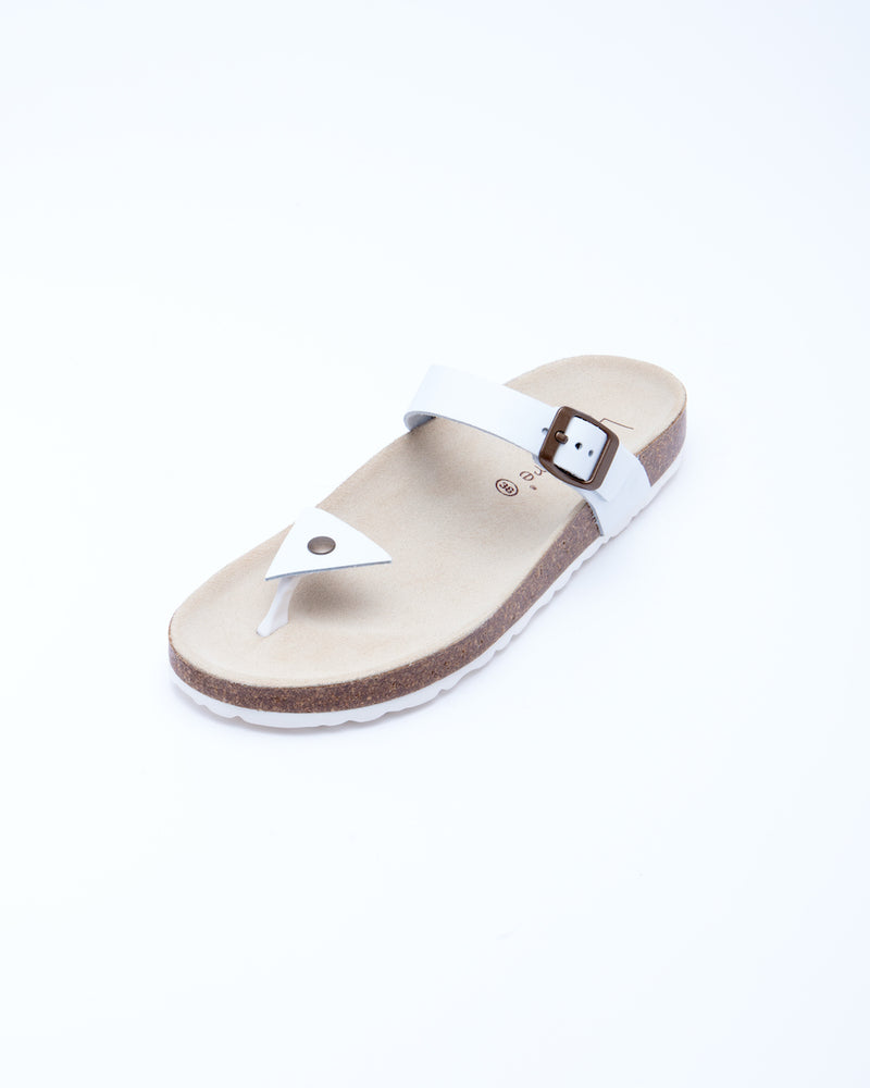 Women's Manu Triangle Sandal White Leather