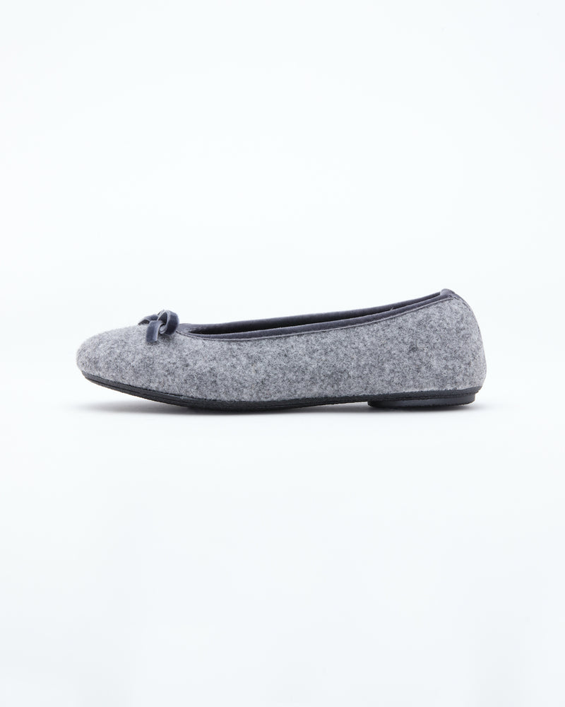heather grey  le clare wool ballet flat house slipper