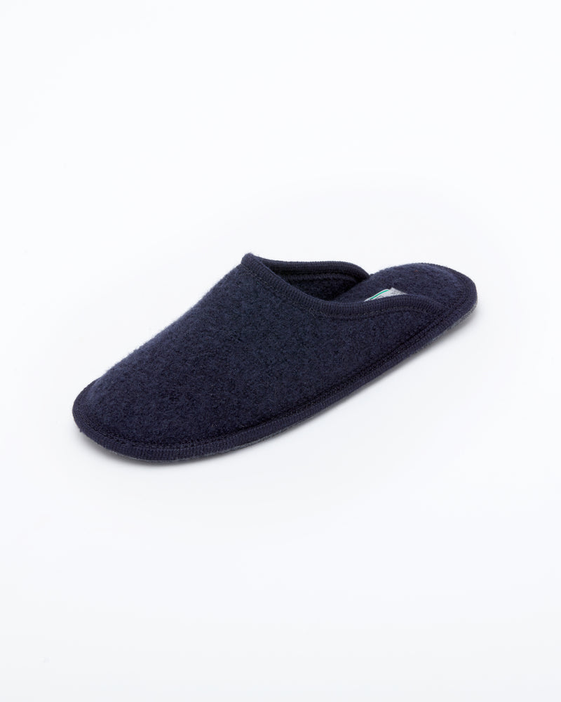 Men's boiled wool slippers navy