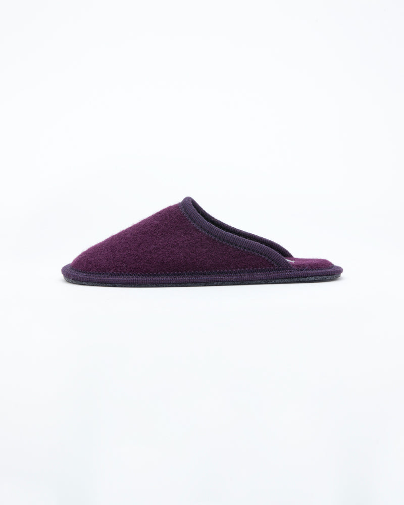 women's plum  le clare stella boiled wool hotel house slipper