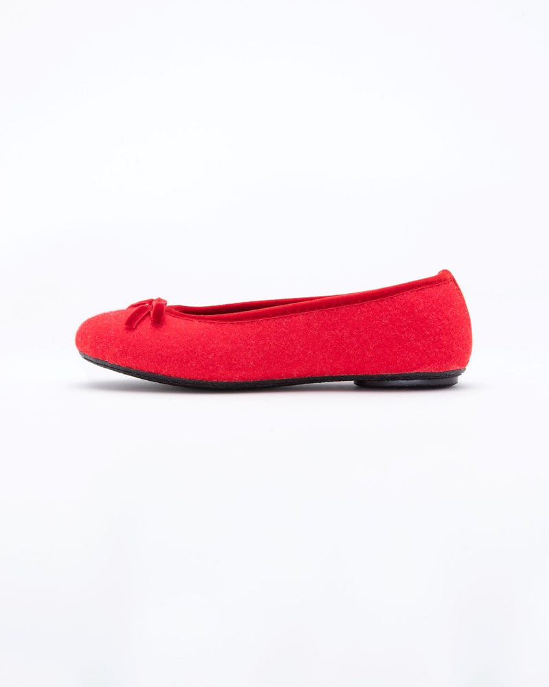 red  le clare wool ballet flat house slipper