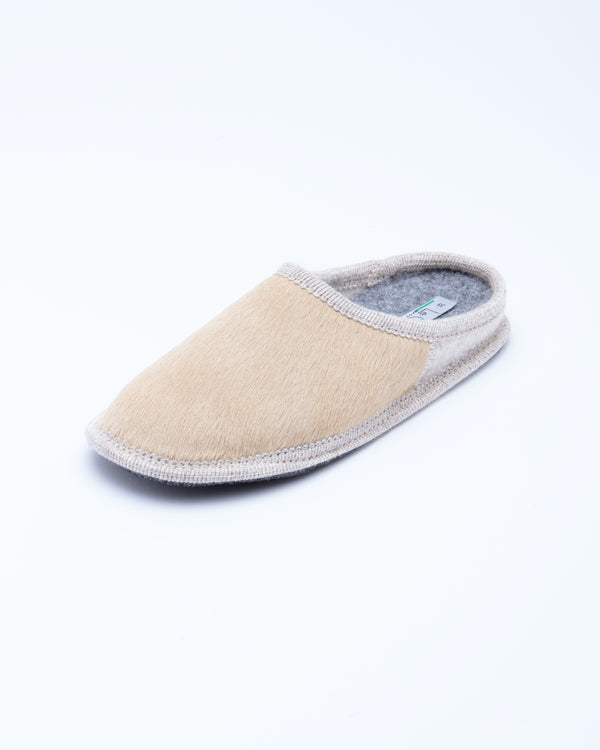 Women's Le Clare Nuvola Cavallino Pony Hair Slipper Beige made in italy