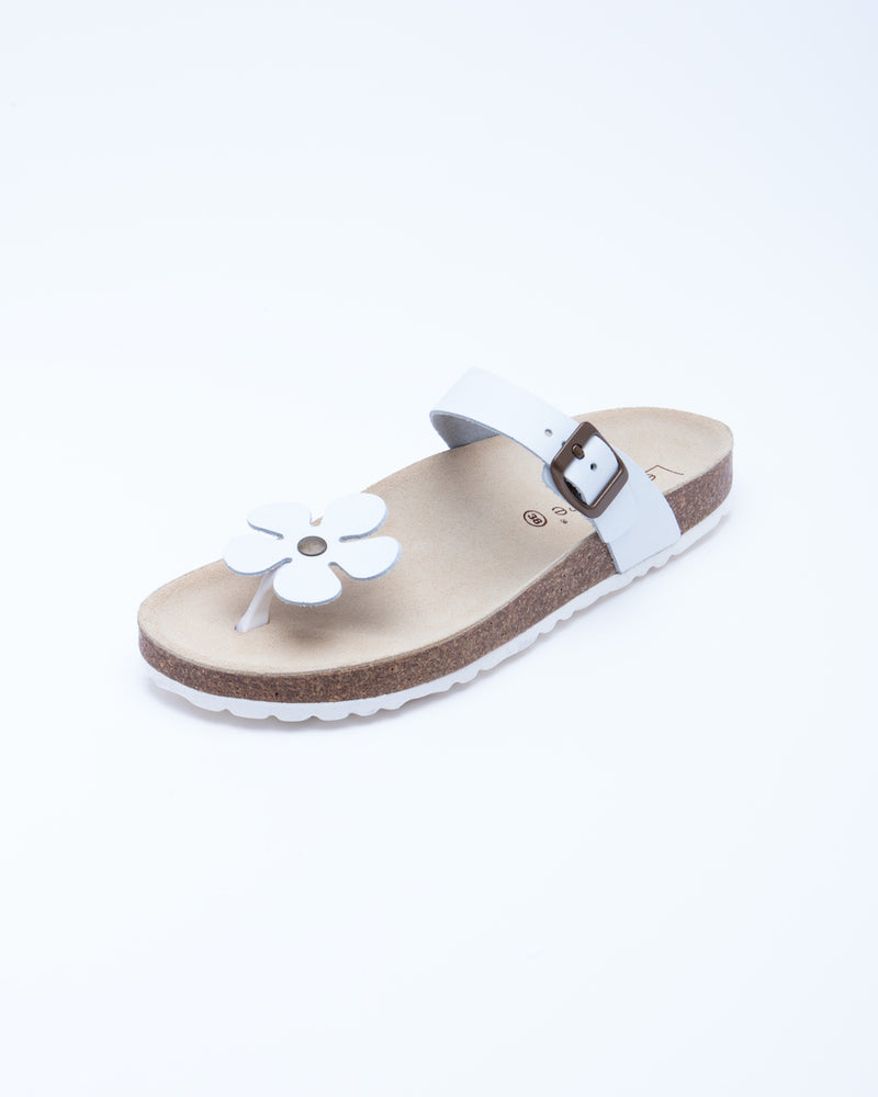 Women's Manu Flower Sandal White Leather