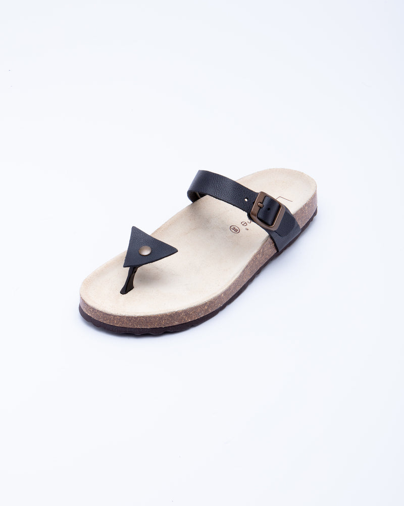 Women's Manu Triangle Sandal Black Leather